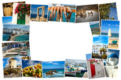 Collage pictures of Cyclades island in Greece. Collage of images from famous location in the cyclades, Greece with copy space Royalty Free Stock Photography