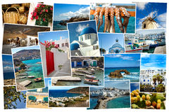 Collage pictures of Cyclades island in Greece. Collage of images from famous location in the cyclades, Greece on white background Royalty Free Stock Photography