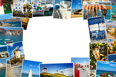 Collage pictures of Cyclades island in Greece Royalty Free Stock Image