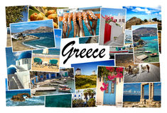 Collage pictures of Cyclades island in Greece. Collage of images from famous location in the cyclades, Greece with the word Greece on white in the middle Stock Image