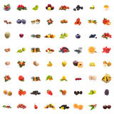 Collage Fruits. Collage of 64 pictures of different fruits on white background Royalty Free Stock Photography