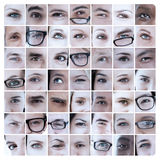 Collage of pictures with eyes Stock Photos