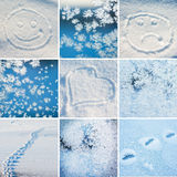 Collage of pictures. On the theme of winter, snow and New Year Royalty Free Stock Image