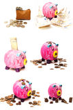 Collage of pigs with money Stock Photo
