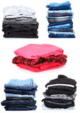 Collage of the piles of clothes. Royalty Free Stock Images