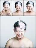 Collage of pink paint falling on man Royalty Free Stock Photo