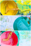 Collage of pink, yellow and blue paint pots Royalty Free Stock Images