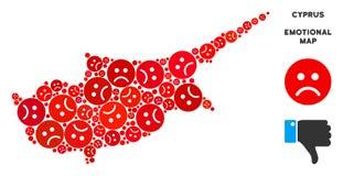 Collage pitoyable de carte d'île de la Chypre de vecteur des smiley tristes illustration stock