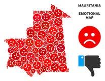 Collage pitoyable de carte de la Mauritanie de vecteur des smiley tristes illustration stock