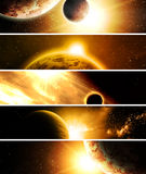Collage with planets. Collage of 5 pictures with planets Stock Photo