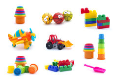 Collage of plastic toys for baby isolated on white background royalty free stock photography
