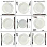 Collage- plates on  white  background. Composition of forks, knifes, spoons, plates  on white background Royalty Free Stock Image