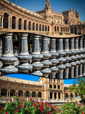 Collage of Plaza de espana spain square Seville, Andalusia, Spain. Stock Images