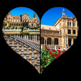Collage of Plaza de espana spain square Seville, Andalusia, Spain. Royalty Free Stock Photo
