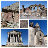 Collage of popular Armenia touristic landmarks, unesco heritage Stock Image