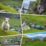 Collage of popular tourist destinations in Faroes Islands.  Travel background. Faroe Islands. Denmark. Europe