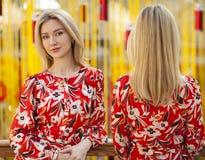 Collage, Porträt von schöne junge Blondine stockbilder