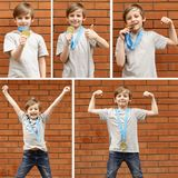 Collage portrait of a boy with a gold medal Stock Photo