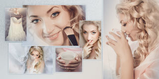 Collage - Portrait of the bride during preparation for wedding ceremony. Royalty Free Stock Photos
