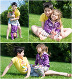 Collage, Portrait of a cute brother and sister stock image