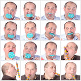Collage portrait fat man eating a lollipop Stock Images