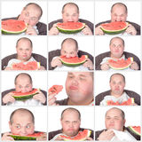 Collage portrait obese man eating a large slice of fresh juicy w Royalty Free Stock Image