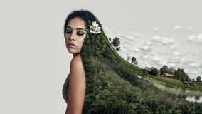 Free Collage Portrait Of A Young Girl In Nature Dress Stock Image - 214760951