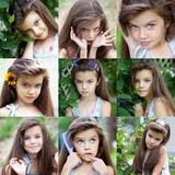 Collage, portrait of a pretty liitle girl Royalty Free Stock Photography