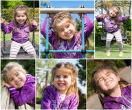 Collage, Portrait of a pretty little girl Stock Photos