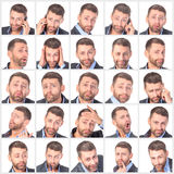 Collage portrait unshaved handsome man with difference emotions Royalty Free Stock Photos