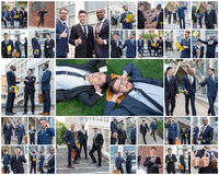 The collage from portraites of multi ethnic business team. stock photography