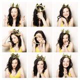 Collage of portraits of a beautiful woman with crown Stock Photography