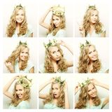Collage of portraits of a beautiful  woman Royalty Free Stock Images