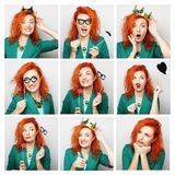 Collage of portraits of a beautiful woman Stock Photography