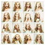 Collage of portraits of a beautiful young woman Royalty Free Stock Photos