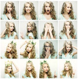 Collage of portraits of a beautiful young woman Stock Photography