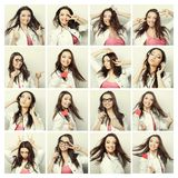 Collage of portraits of a beautiful young woman Stock Photos