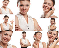 Collage of portraits business woman with phone isolated Royalty Free Stock Images