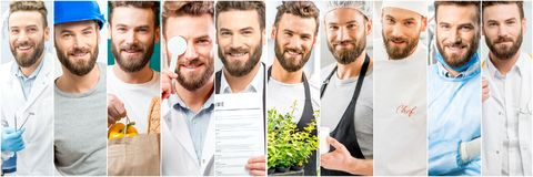 Collage of a man with different professions stock photography