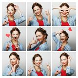 Collage of portraits of  happy woman Stock Image