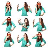Collage of portraits of  happy woman Royalty Free Stock Images