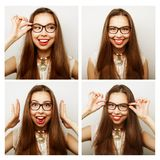 Collage of portraits of  happy woman Stock Images