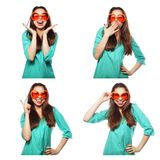 Collage of portraits of  happy woman Royalty Free Stock Photo