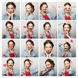 Collage of portraits of  happy woman Stock Photo