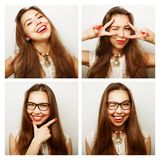 Collage of portraits of  happy woman Stock Photography