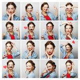 Collage of portraits of  happy woman Royalty Free Stock Photos