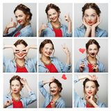 Collage of portraits of  happy woman Stock Photos