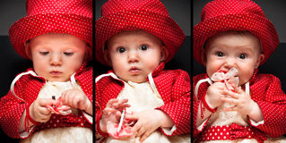 Collage of portraits of a little adorable baby Stock Photos