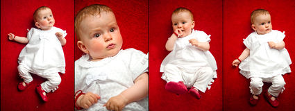 Collage of portraits of a little adorable newborn. Lying on his back with red little sandals and white, cute dress. isolated on red background Stock Photography