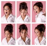 Collage of portraits of little girl with different emotions stock photography